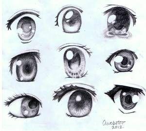 Les différentes façon de faire des yeux manga ^^