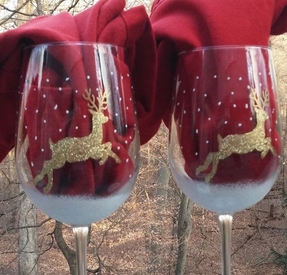 Golden Glittered reindeer hand painted wine by GlassesbyJoAnne