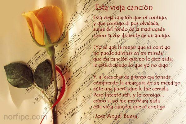 Reflexiones De La Vida Cortos: Esta Vieja Canción, Lindo Poema De Amor De Jose Angel