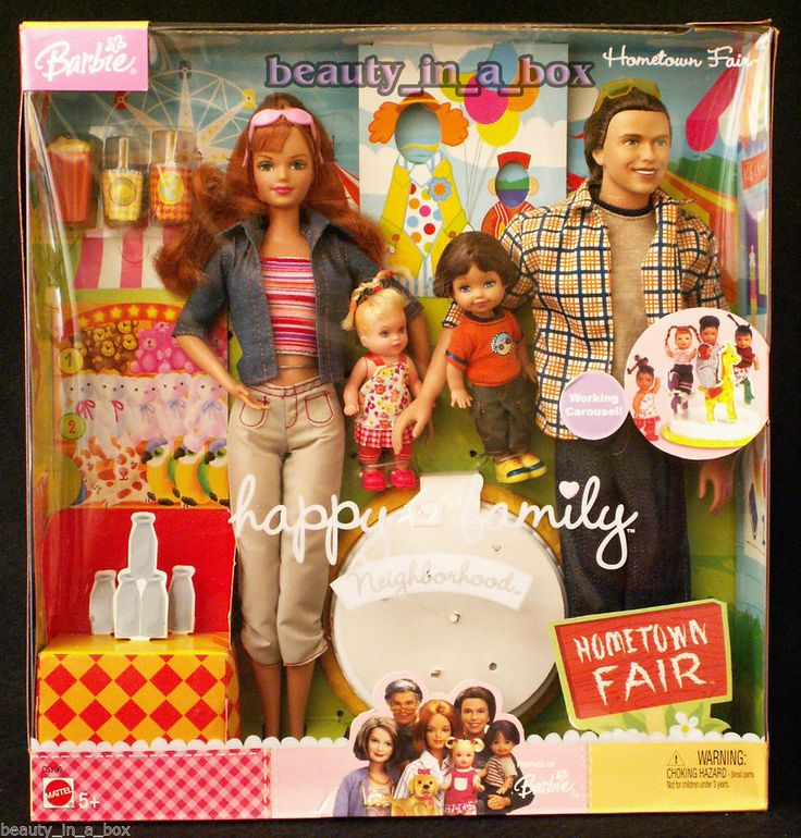 Happy Family Neighborhood Hometown Fair Gift Set Barbie Ken Doll Midge Alan, 259.95
