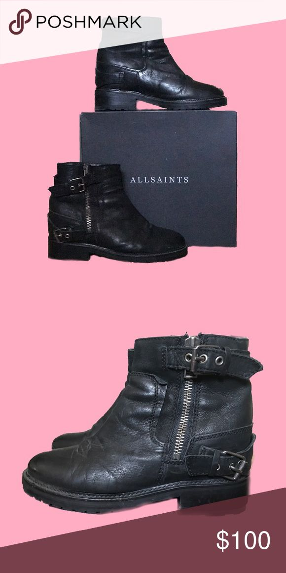ALLSAINTS Rama Low Boot Sz 8.5/9 Handcrafted in Portugal, this SOLD OUT ALLSAINTS beauty was made with 100% Nubuck Leather with a pigskin lining. Accented with gunmetal hardware, this sturdy gal has some weight to her and has a heel-like incline within, giving you a little pop in your step. Your backside will look like you're wearing heels but your outfit will maintain that soft grunge vibe. This babe has already been broken in and has natural wear marks on the supple leather. She comes with…