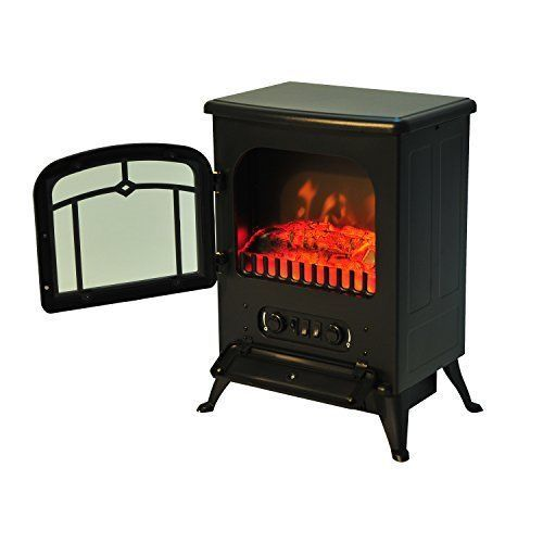 Free Standing Electric Fireplace Heater Portable Fire Stove LED Flame Wood Log  #FreeStandingElectricFireplaces