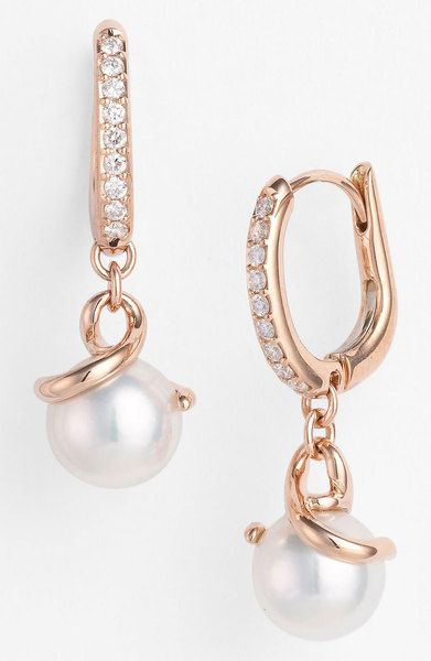Mikimoto Akyoka Cultured Pearl Diamond Earrings in White (rose gold)