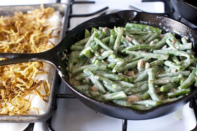 casserole with fresh green beans and homemade cream of mushroom sauce ...