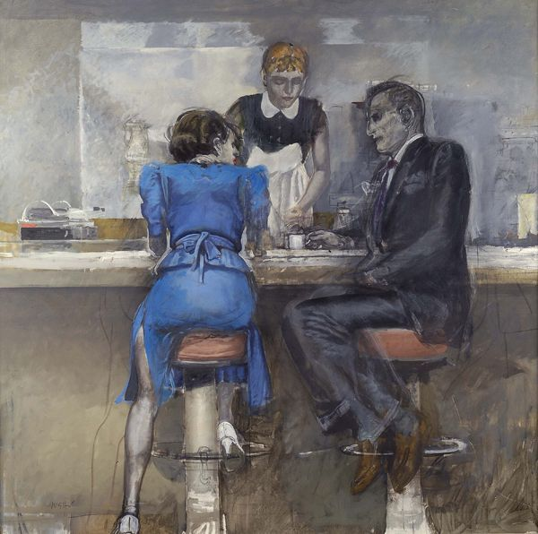 ALBERTO SUGHI (CESENA, 1928 - ROMA, 2012) Figure al bar, 1985