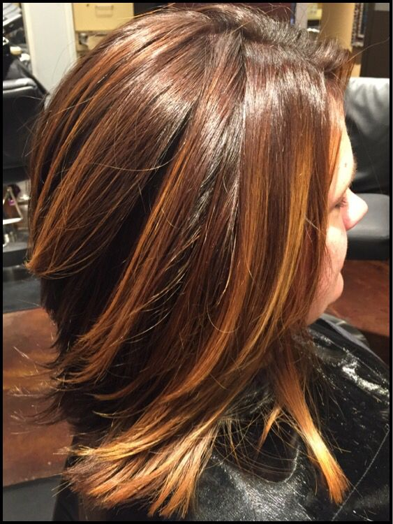 Rich Mahogany Copper Base With Balayage Highlights Hair