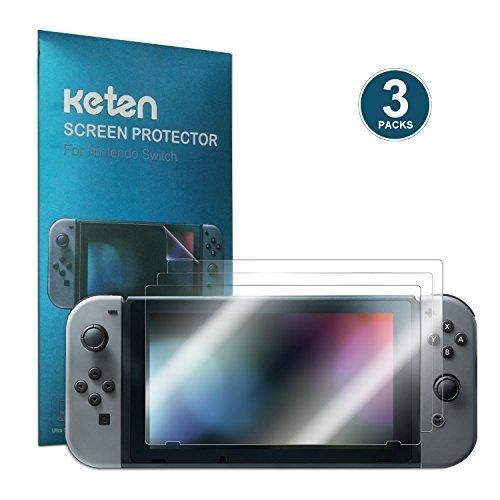 Switch Screen Protector [3-Pack] Keten 2017 Full Covered Anti-Fingerprint HD Screen Protective Filter Film anti-Bubble PET Film for Nintendo Switch