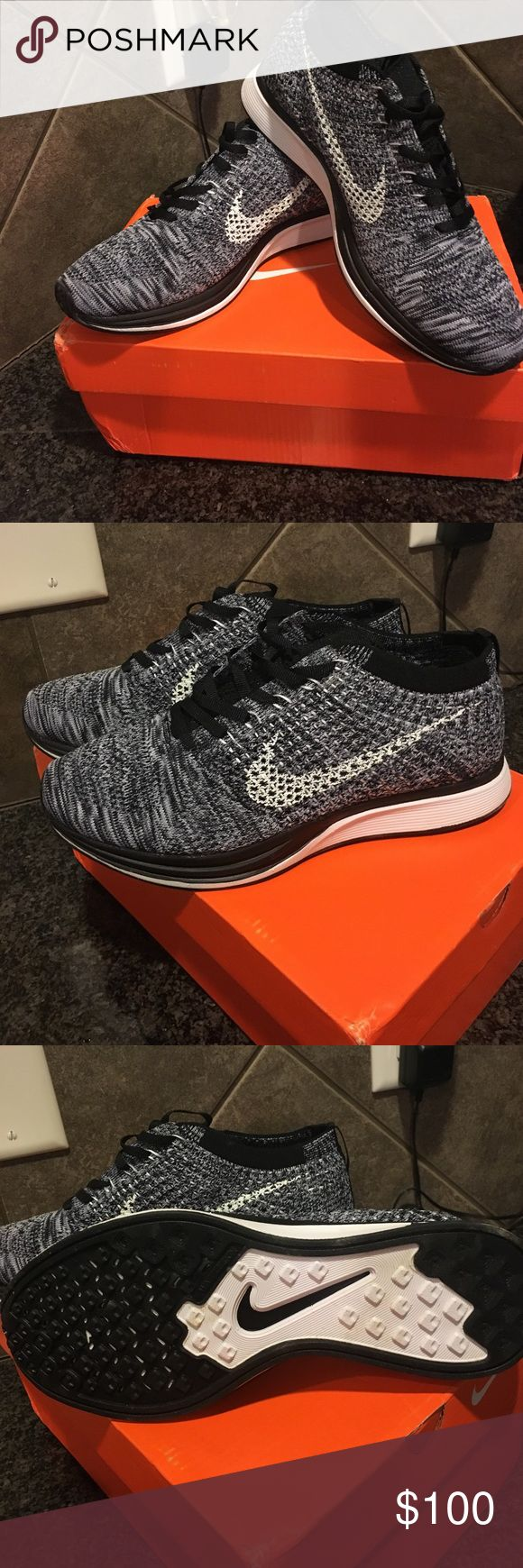 Brand new in box women Nike flyknit racer size 7 Brand new in box women Nike flyknit racer shoes . Size 7 . Dark grey with black Nike Shoes Sneakers