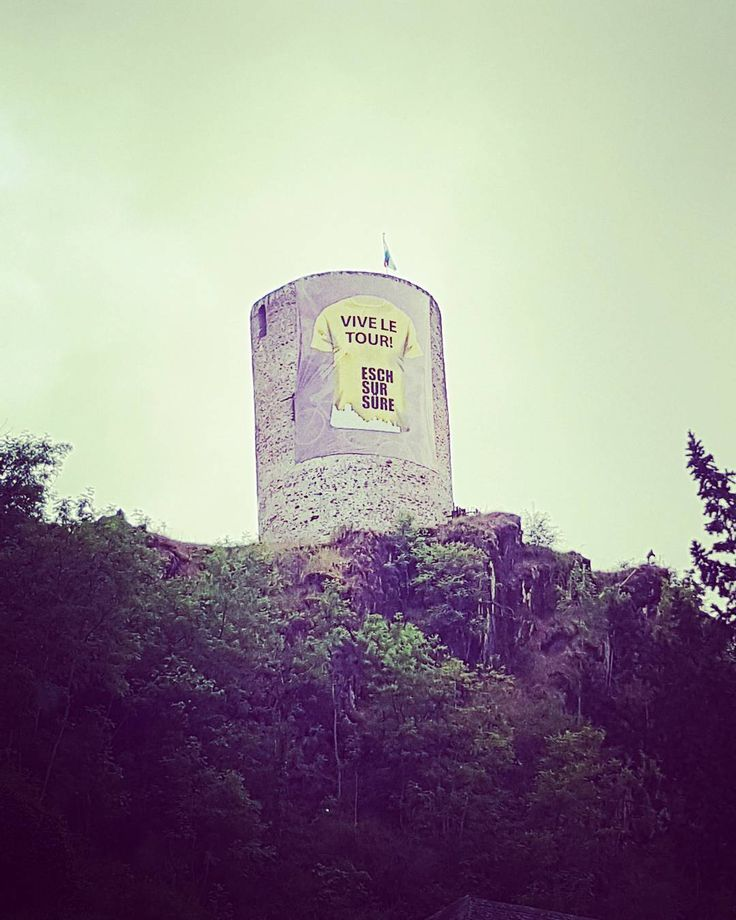 A message high up on a cliff supports the #tourdefrance riders who are passing through luxembourg today and tom. Someone recently told me that for people here some of their biggest #heroes are #cyclists  #tourdefrance2017 #cycling #support #eschsure #luxembourgcity #travelblogger #instadaily