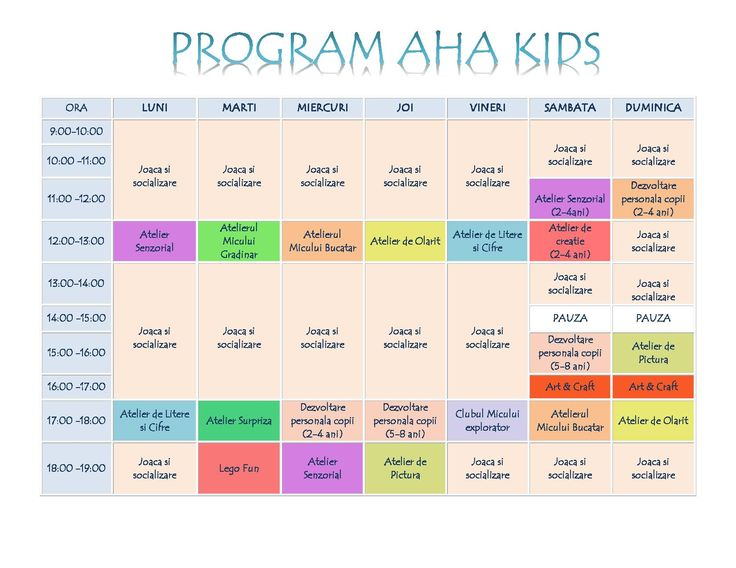 Program AHA Kids - luna August 2016