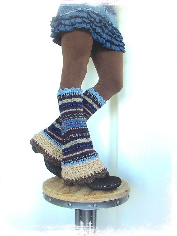 Denim BLUE Flared leg warmers Fair Isle Boho Leg Warmer Scalloped Bell Bottoms eco friendly legwear beige Womens upcycled clothing GPyoga