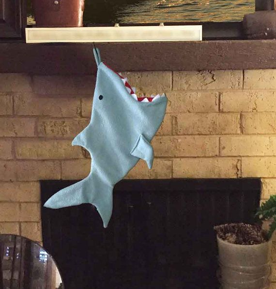 Shark Christmas Stocking by MerMommaShop on Etsy