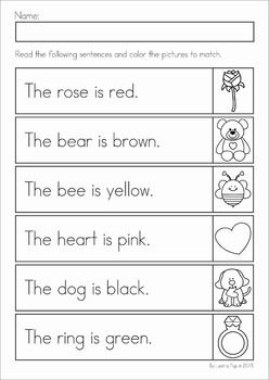 Kindergarten Valentine's Day Math and Literacy Worksheets & Activities No Prep. A page from the unit: read and color