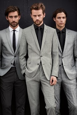 Strellson BLACK & WHITE capsule collection. Checked suits, slim fit. Chris Brown / Jamie Strachan / Miles McMillan