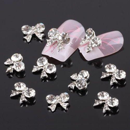 10PCS Bow Tie Alloy 3D Clear Rhinestone Nail Art Stickers Glitter Slice DIY Decorations 5WH4 7GVN