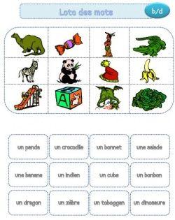 Loto des mots: petit jeu de lecture pour les cp, lire le mot et l'associer à son image
