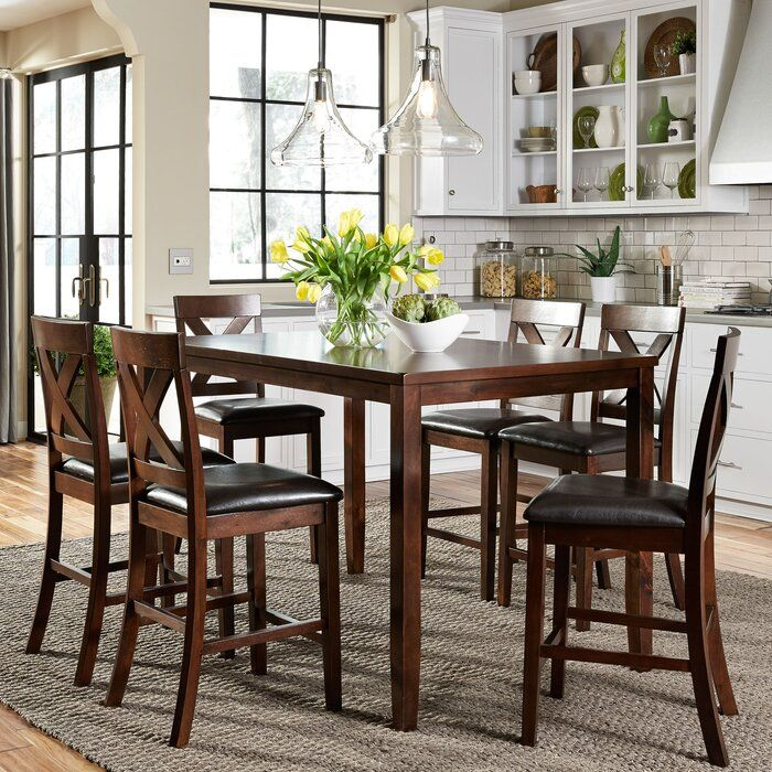 Nadine 7 Piece Dining Set In 2020 Pub Table Sets Dining Table Setting Living Room Table Sets