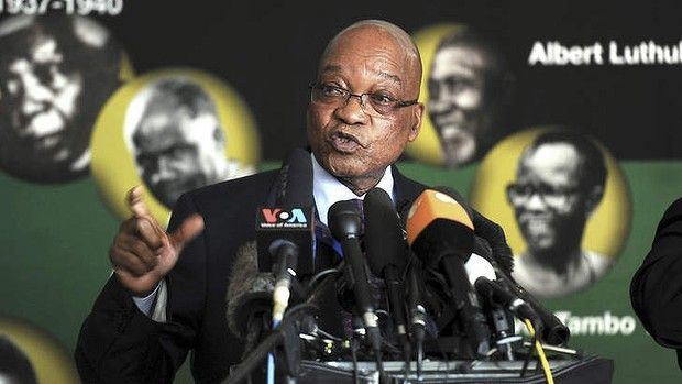 Still critical: South African president Jacob Zuma addresses journalists in Johannesburg on Monday.