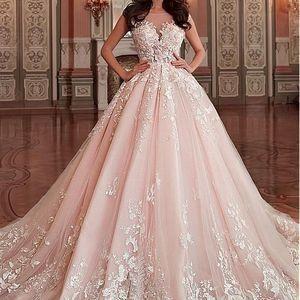 Stunning Light Pink Wedding Dress, Appliques Lace Sleeveless Bridal Dress, Sexy V-Back Wedding Gown, 502