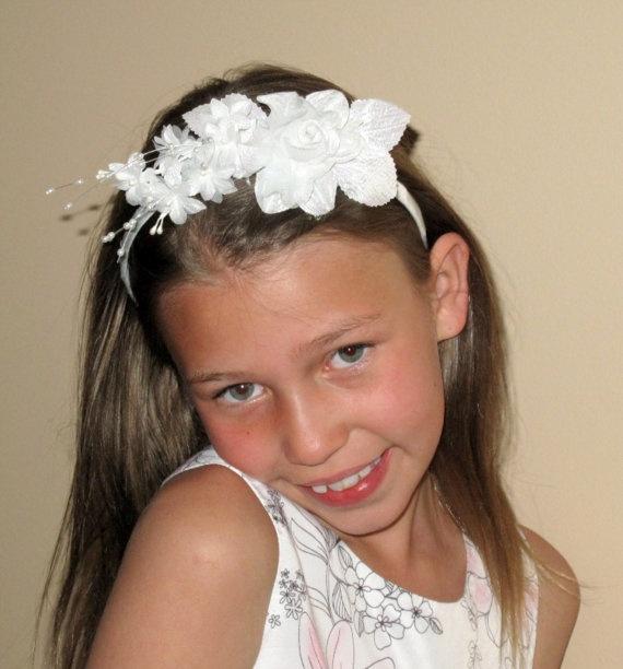 Items Similar To Girls Headband White Flower Girl Bridal Wedding Childrens Hair Accessories On Etsy