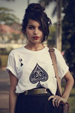 up-do + red lip + tee. Where do I get this tee? If not silk screening it!!! Yuuuup!