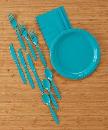 Loving this Tropical Teal 98-Piece Dinner Party Set on #zulily! #zulilyfinds