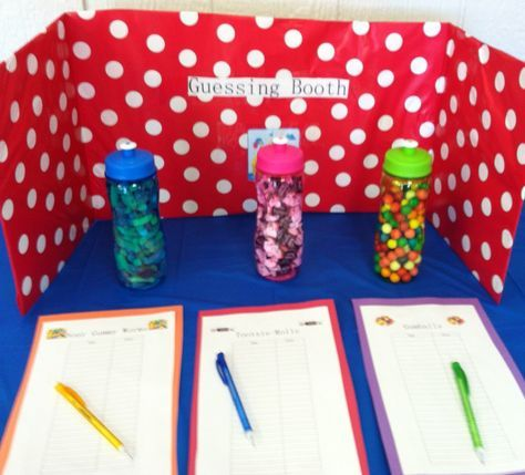 Great idea for a PTO / PTA Fall Festival party - A Guessing Booth.