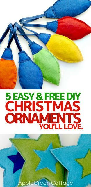 Easy Christmas tree ornaments you'll love. Christmas is right around the corner. What better way to get in the Christmas spirit than with some easy Christmas tree ornaments? Homemade ornaments can give a totally new life to your Christmas tree, adding a warm and cozy touch to your home. Here are 5 easy and free tutorials (and sewing patterns) that will inspire you and bring Christmas closer to you and your loved ones.
