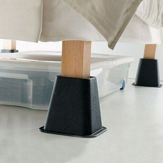 bed risers extra storage space and extra storage on pinterest. Black Bedroom Furniture Sets. Home Design Ideas