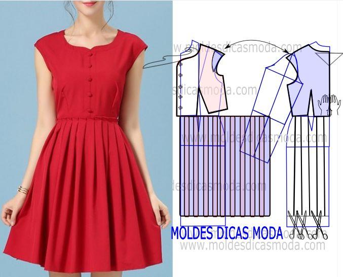 Analise de forma cuidada o desenho do molde vestido com pregas para que possa fazer a leitura da transformação de forma correta.