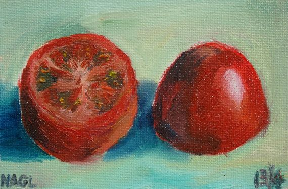 Half and Half (Tomato) (April 2014) original still life oil painting on canvas board on Etsy, £45.00