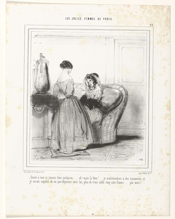 Anonymous | Les Jolies Femmes de Paris, 1848, No. 23, pl. 102 :  Quant à moi..., Anonymous, Aubert & Cie, Aubert, c. 1848 | Vrouw, zittend op een bank, in een gestreepte japon. Op het hoofd een hoed met voile. Voor haar staat een vrouw, op de rug gezien, in een japon met boothals.