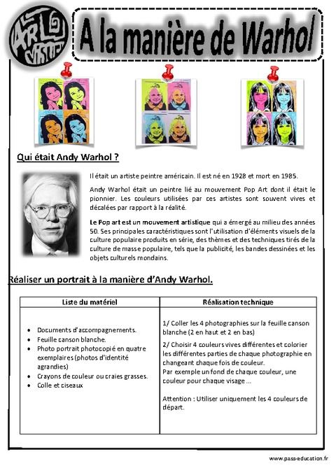 Andy Warhol – Portraits - Ce1- Ce2 – Cm1 – Cm2 – Arts visuels – Cycle 3