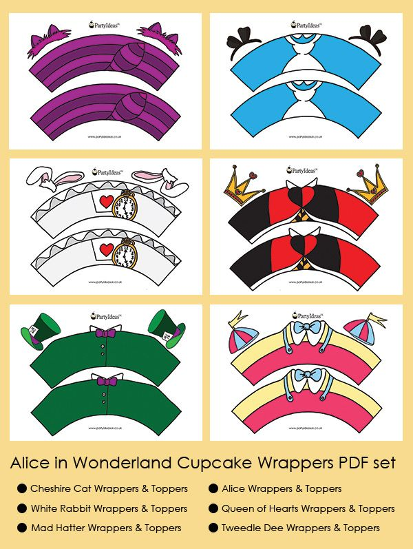 Mad Hatter Tea Party Ideas Alice in Wonderland Cupcake Wrappers