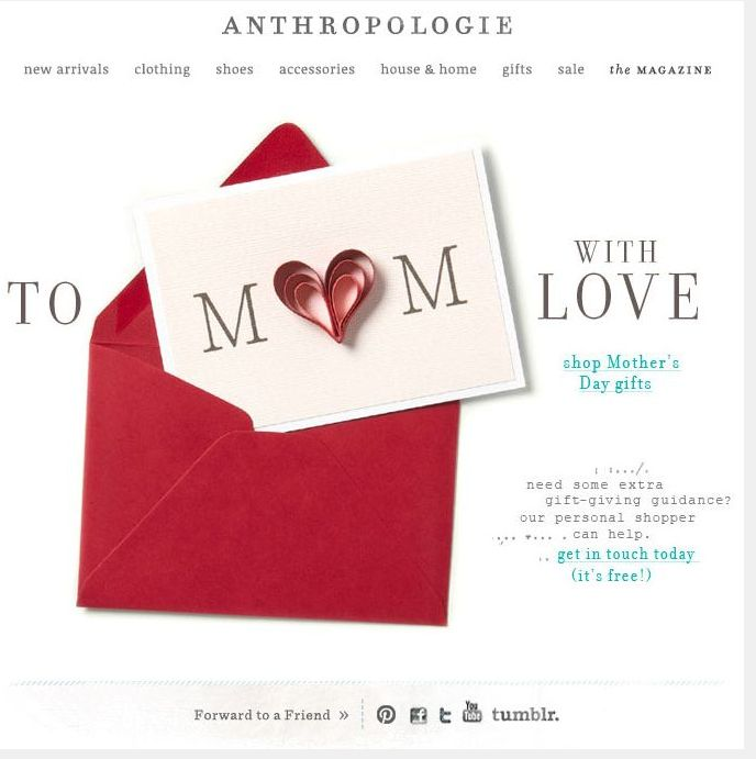 Anthropology Mothers Day email.