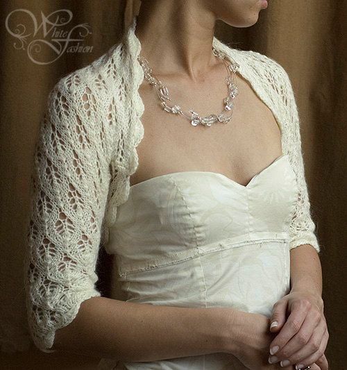 BRIDAL SHRUG wedding bolero sleeves 3/4 leaf pattern lace light cream color knitted size XS