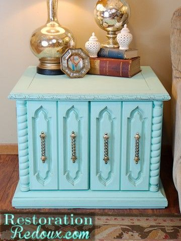 Aqua Chalky Painted Vintage Table www.restorationre...