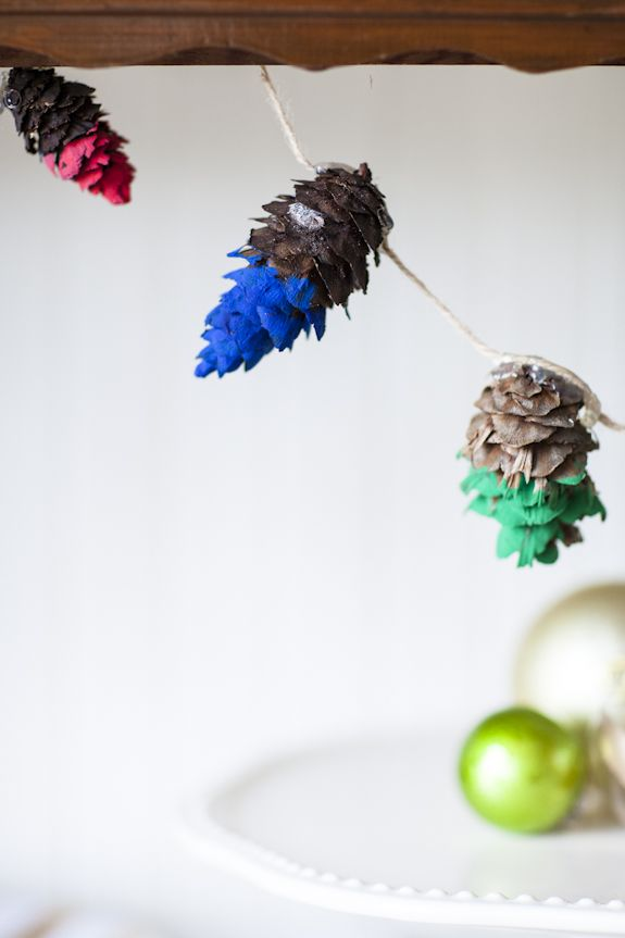 Rainbow-dipped pine cones.