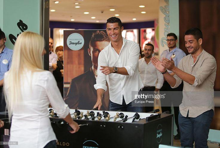 News Photo : Cristiano Ronaldo plays table football with...