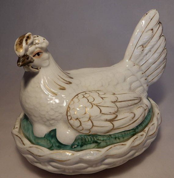 A most attractive Late 19th Century Antique English Victorian Staffordshire Pottery Hen on Nest Tureen and Cover, found more often than not in the cottage kitchen being used for storing eggs than for serving soup or other dishes. Now hard to find in undamaged condition, these delightful