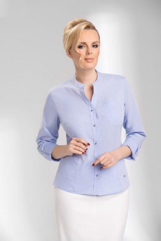 Senso KOSZULA DAMSKA Model  DWDD/S431-F0-N263  Koszula damska senso; w kolorze błękitnym; długi rękaw z możliwością podwijania; z kieszenią na przodzie; model bez zaszewek.  100% bawełna.