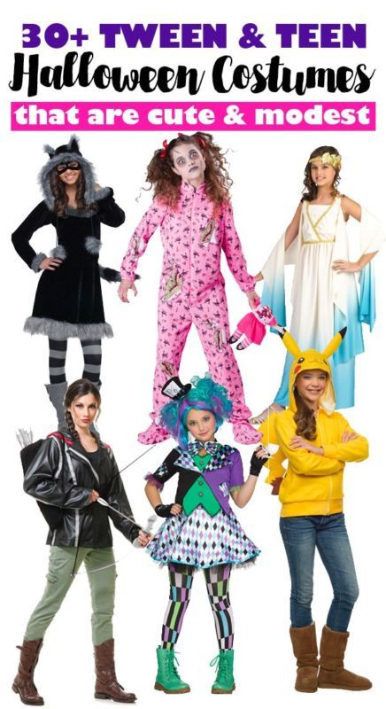 Super cute modest Halloween costumes for tweens and teens.
