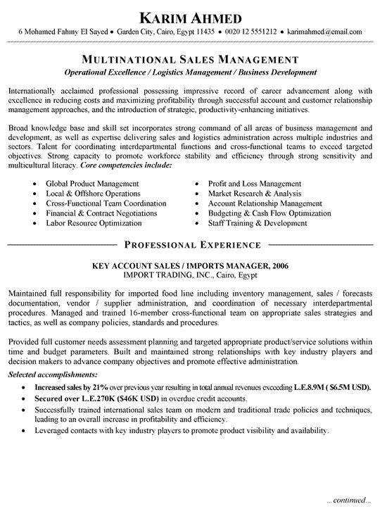 International Sales Resume Example Resume Examples Pinterest