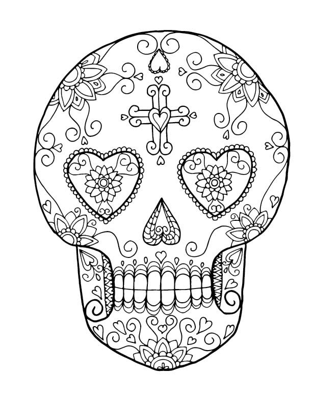 heart sugar skull coloring pages
