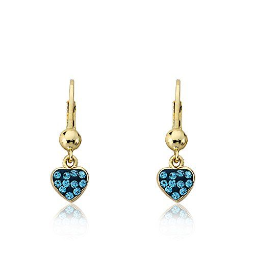 """Molly Glitz """"Heart of Jewels"""" 14k Gold-Plated Blue Enamel and Crystals Heart Dangle Leverback Earrings"""