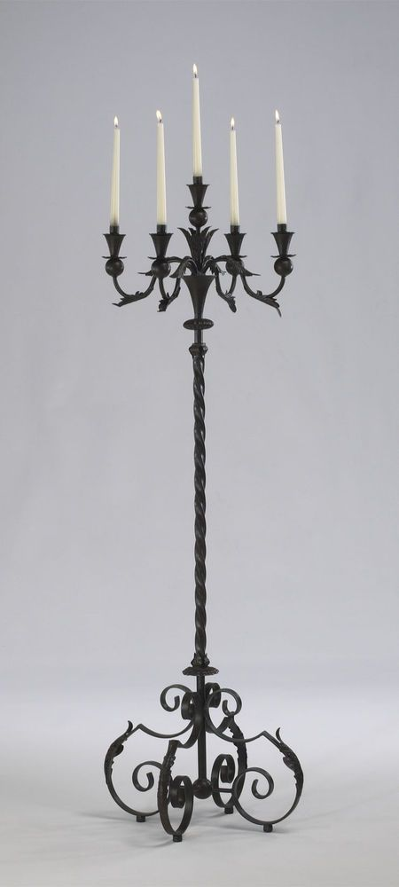 Acanthus Multi 5 Taper Wrought Iron Floor Candelabra Tuscan Candle Holder Stand