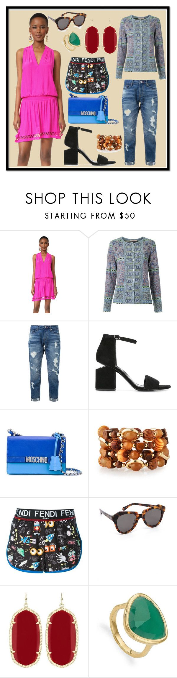 """Hollywood Style"" by cate-jennifer ❤ liked on Polyvore featuring Ramy Brook, Cecilia Pradomurion, Guild Prime, Alexander Wang, Moschino, Emily & Ashley, Fendi, Karen Walker, Kendra Scott and Monica Vinader"
