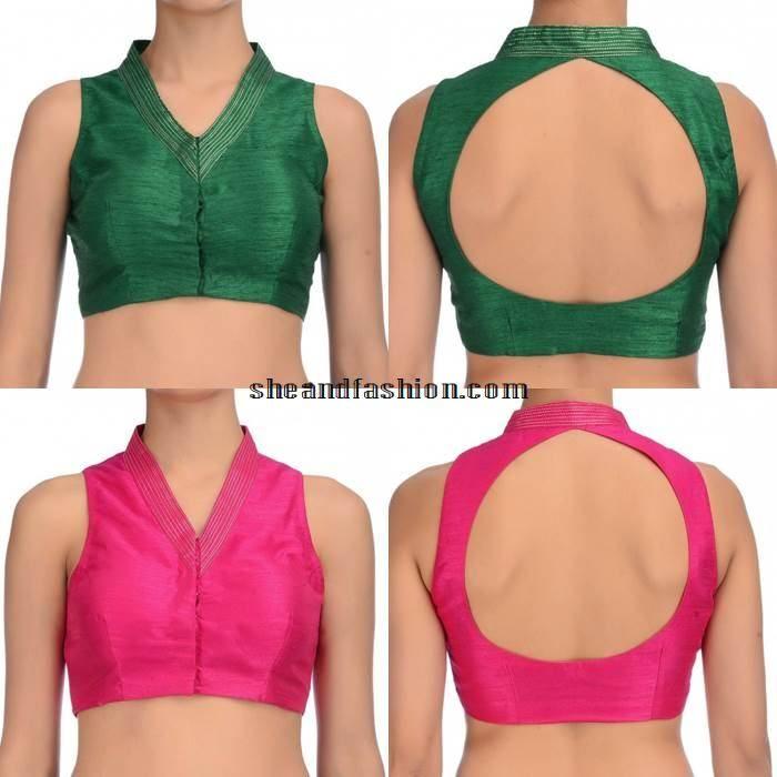 Silk Saree collar neck sleeveless blouse designs