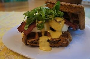 ... allergyfriendly Egg Benedict Waffle Breakfast Sandwich for #fathersday