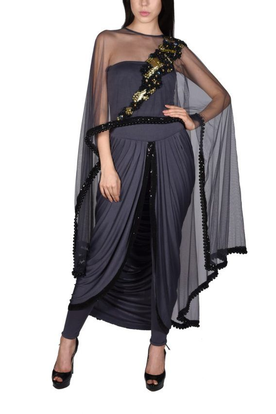 Look Stunning in this exquisite Grey Drape Jumpsuit with Cape with Sequins Embroidery. Shop for Indian, Western, Indo-Western Fashion Designer Dresses and dress to kill for any occasion - Sangeet, Receptions, Weddings or Cocktails.
